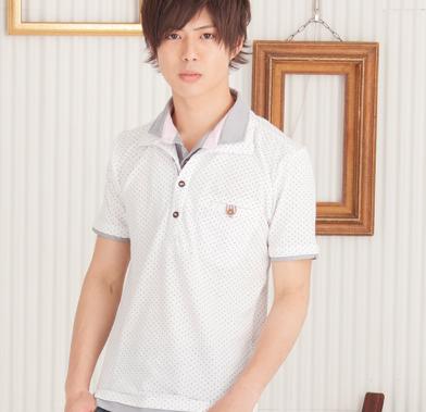 カノコフェイク衿ドットポロシャツ(ホワイト)