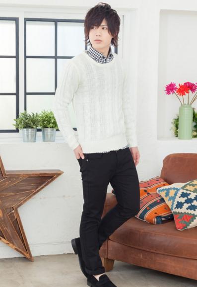 ニット×チェックシャツ×半袖T×チノパン(4点セット)