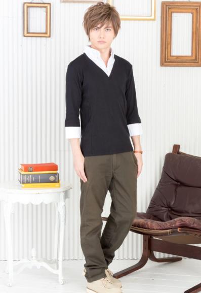 七分袖フェイクレイヤードシャツ×ツイルチノパンツ(2点セット)