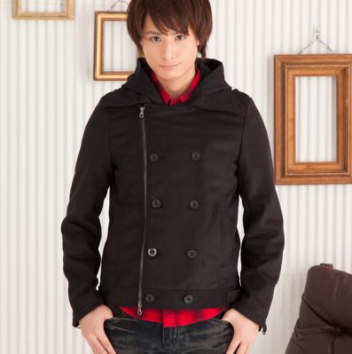 フードレイヤードPコート(ブラック)