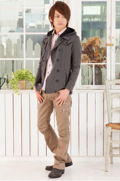 フード付ジャケット×フロントチェック柄ボタンダウンシャツ×スキニーブーツカットパンツ(3点セット)