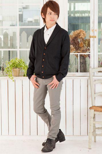 ショールカーディガン×ドットシャツ×バックファスナースキニーパンツ(3点セット)