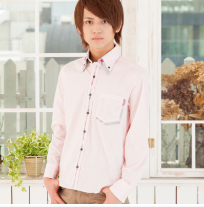 2枚衿フロントチェック柄ボタンダウンシャツ