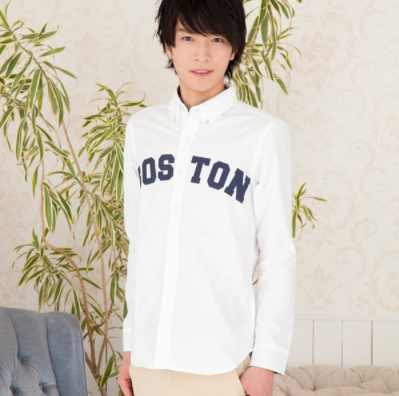 オックスフォードプリント入りシャツ(ホワイト)