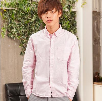 ピンクでやさしいイメージ!先染めオックス長袖シャツ