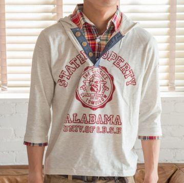 フェイクレイヤード七分袖Tシャツ(オートミール)