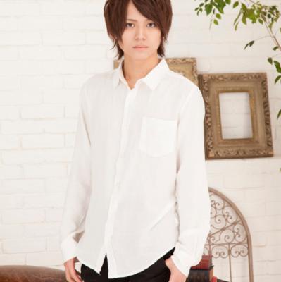 麻レーヨン長袖シャツ(ホワイト)