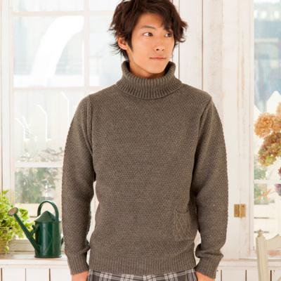 ポップコーン編みタートルネックセーター