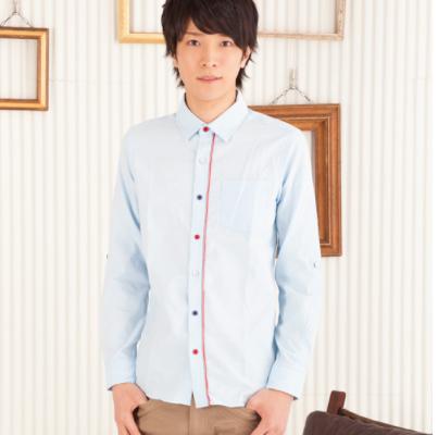 トリコロールボタンシャツ(サックス)
