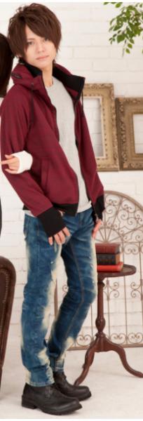 ネックボリュームパーカー×針抜きロングTシャツ×デニムパンツ(3点セット)
