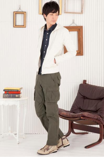 裏毛ジップパーカー×デニムウエスタンシャツ×6ポケットカーゴパンツ(3点セット)