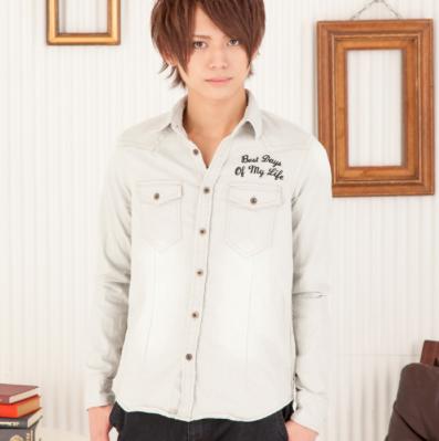 デニム刺繍シャツ(グレー)