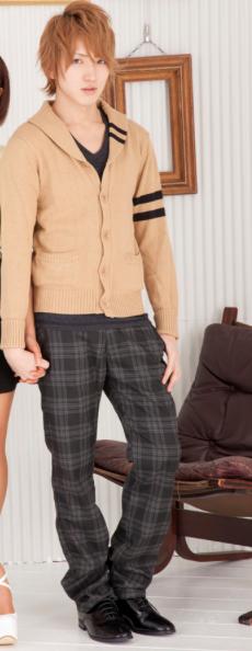 ショール襟カーディガン×Vネック五分袖Tシャツ×チェックチノパン(3点セット)