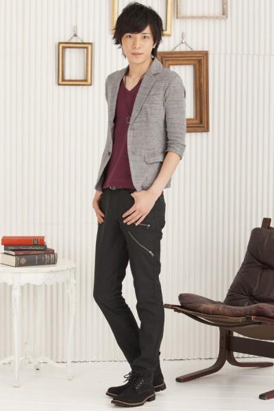 七分袖テーラードジャケット×杢フライスVネック五分袖Tシャツ×ベルト付きZIPパンツ(3点セット)