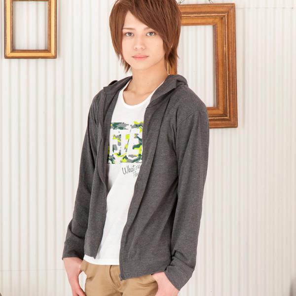 長袖パーカーx半袖Tシャツアンサンブル(2点セット)(ブラック)