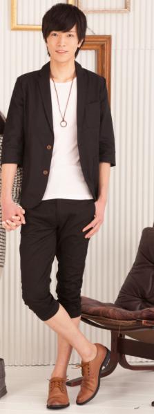 綿麻7分袖テーラードジャケット×フライス7分袖Tシャツ×ツイルクロップドパンツ(3点セット)