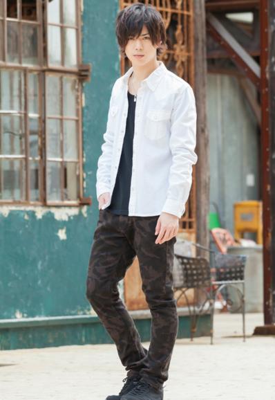 デニムシャツ×Uネック長袖T×カツラギスリムパンツ(3点セット)