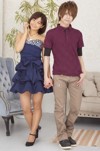 半袖ポロシャツ+5分袖Tシャツアンサンブル×ZIPスキニーブーツカットパンツ