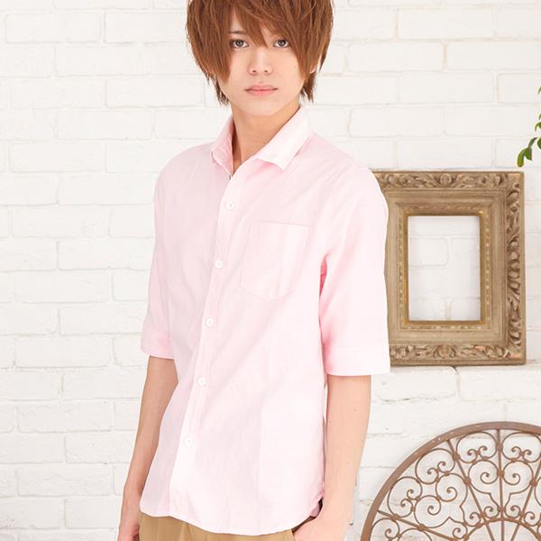 五分袖ラインシャツ(ラインピンク)