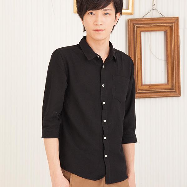 七分袖カラーシャツ(ブラック)