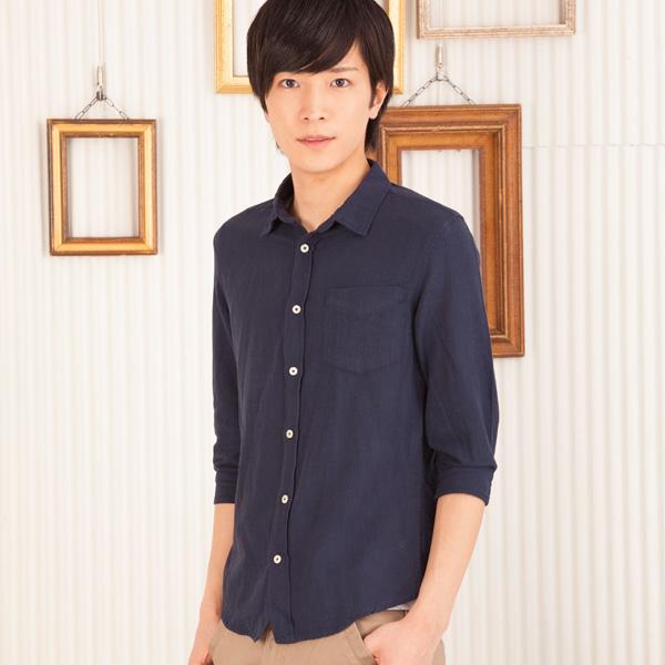 麻レーヨン七分袖シャツ(ネイビー