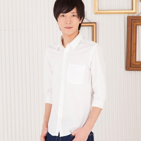7分袖ブロードシャツ(ホワイ