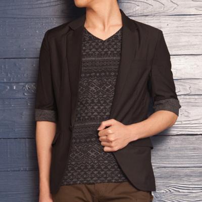 七分袖ブラックテーラードジャケット(ブラック)