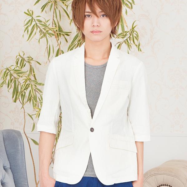 綿麻七分袖ジャケット(ホワイト)