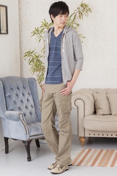 七分袖シンプルパーカー×ツイル生地染めジャガード七分袖Tシャツ×スリムカーゴパンツ(3点セット)