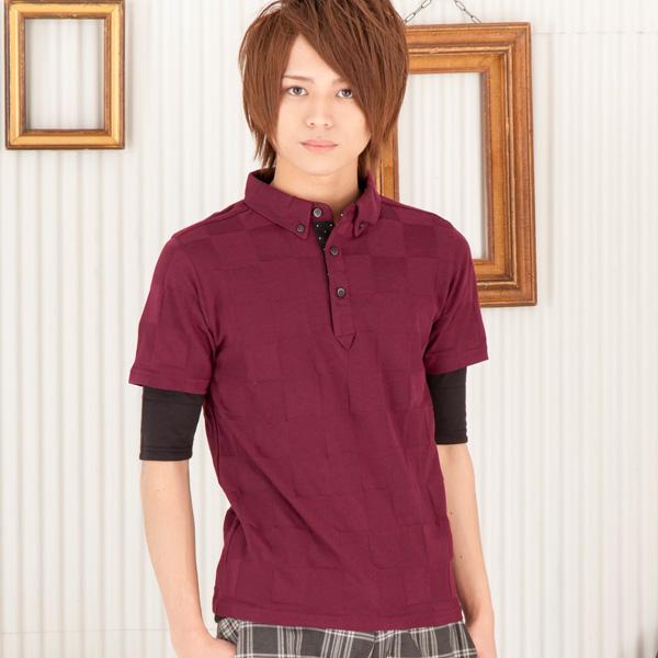 半袖ポロシャツx五分袖Tシャツアンサンブル(2点セット)