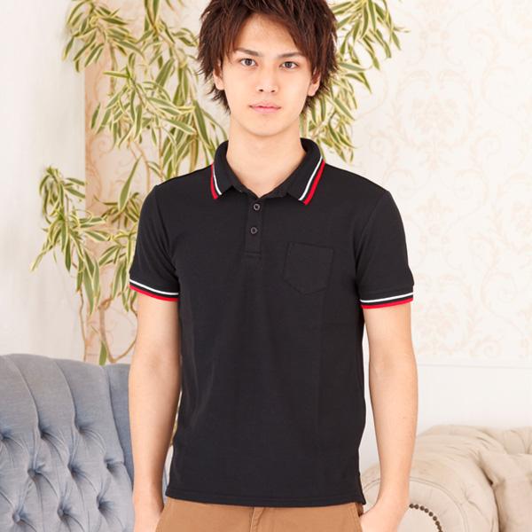 ラインデザイン鹿の子半袖ポロシャツ