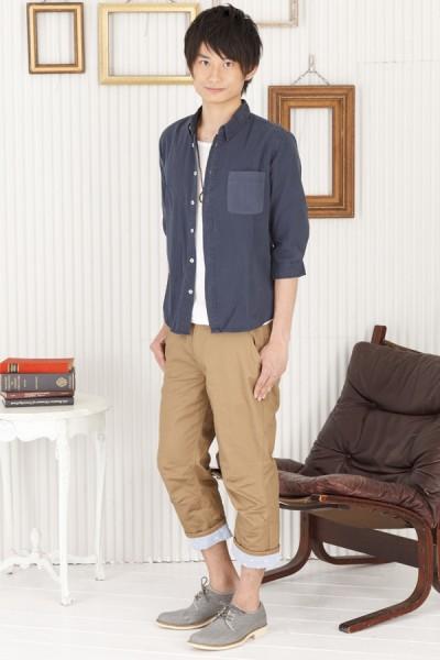 フライス7分Tシャツ×7分袖ブロードシャツ×ベルト付きクロップドパンツ(3点セット)