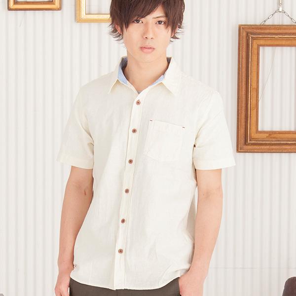 綿麻半袖シャツ(ホワイト)