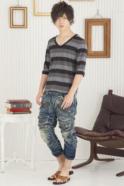 マルチボーダーTシャツ×デニムシャーリングクロップドパンツ(2点セット