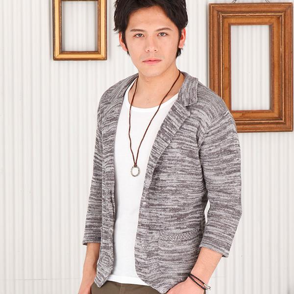 七分袖ニットジャケット(グレー