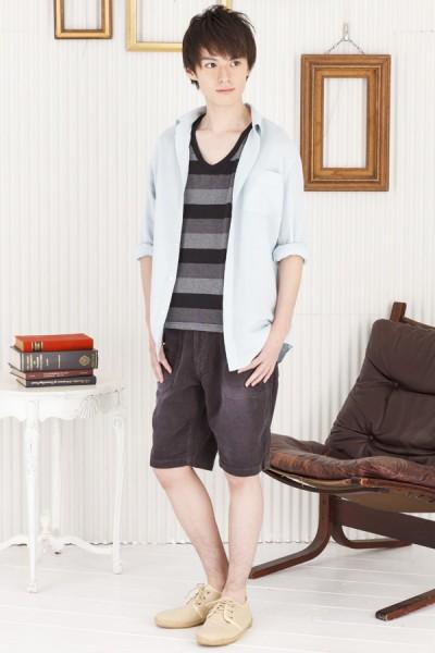マルチボーダーTシャツ×長袖カラーシャツ×サマーコーデュロイショートパンツ(3点セット)