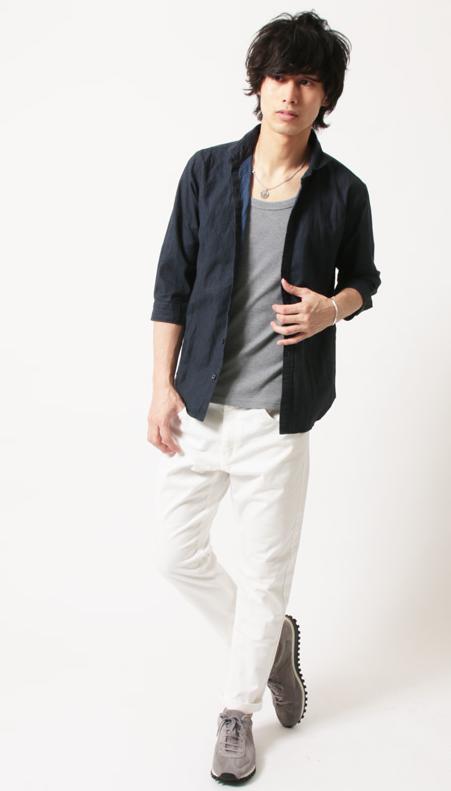 綿麻 グレンチェック ホリゾンタルカラー 7分袖 シャツ