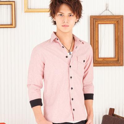 ストライプリブ七分袖シャツ