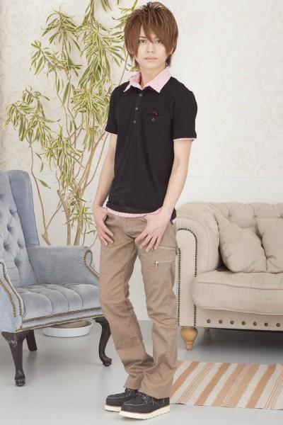 ストライプ衿ポロシャツ×スキニーブーツカットパンツ(2点セッ