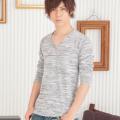 段染めVネックロングTシャツ(グレー
