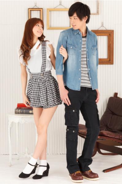 ブラックボーダーUネックTシャツ×デニム7分袖シャツ×カーゴパンツ(3点セット)