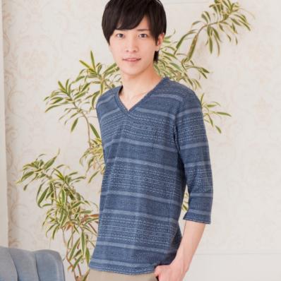 ツイル生地染めジャガード七分袖Tシャツ(ネイビー)