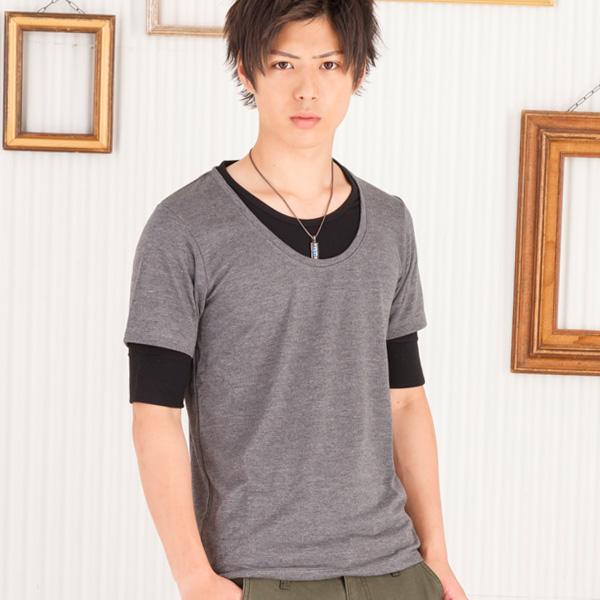 フェイクレイヤード五分袖Tシャツ(チャコール)