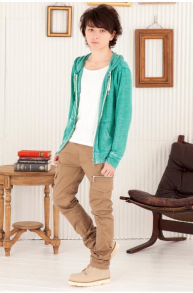 Zipパーカー×長袖ボートネックTシャツ×スキニーカーゴパンツ(3点セット