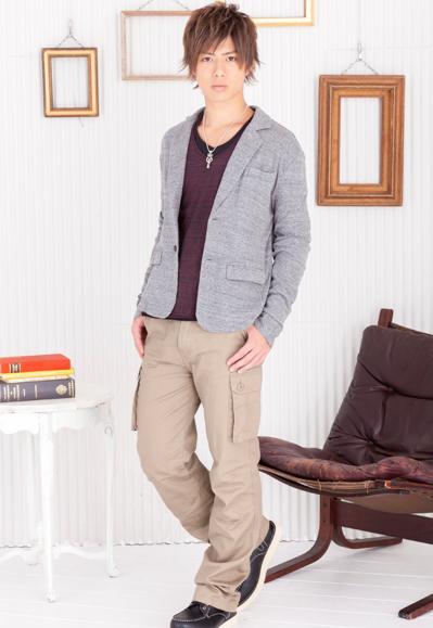 トリッキーロングTシャツ×長袖テーラードジャケット×スリムカーゴパンツ(3点セット)