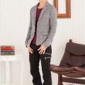 テーラードジャケット×ジャガードロンT×3ZIPスキニーブーツカットパンツ(3点セット)