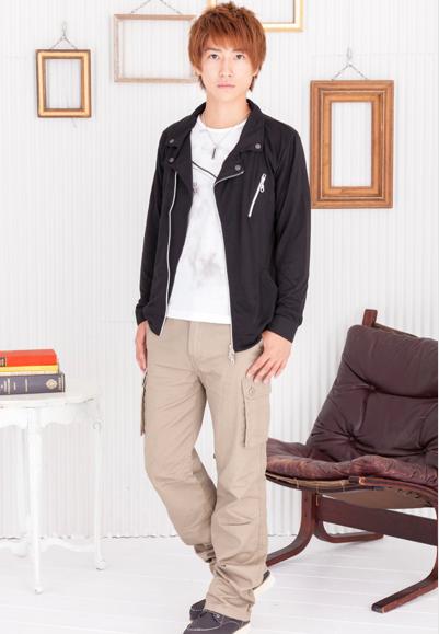 ライダースジャケット+Tシャツ×スリムカーゴパンツ(2点セット)
