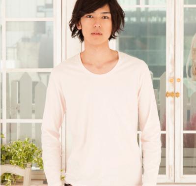 長袖UネックTシャツ(シャーベットピンク)