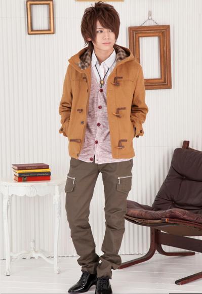 ショート丈ダッフルコート×シャツ+カーディガンアンサンブル×タイトカーゴパンツ(3点セット)