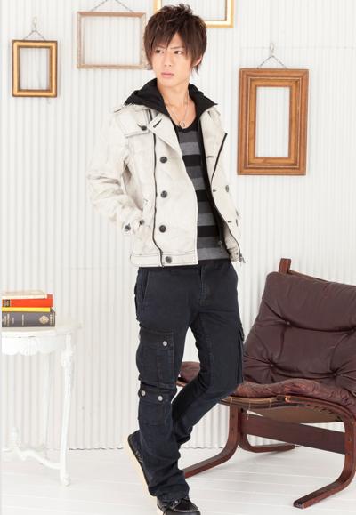 マルチボーダーTシャツ×フェイクフードデニムPコート×カーゴパンツ(3点セット)